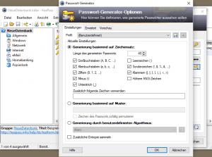 sichere Passwörter mit dem Keepass Passwortgenerator