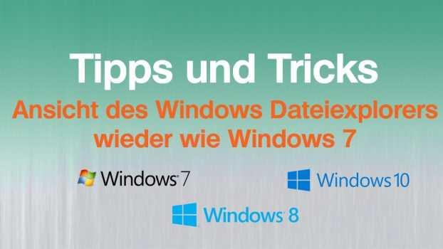 Ansicht des Dateiexplorers wieder wie Windows 7