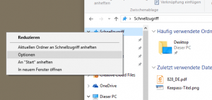 Windows Schnellansicht Optionen