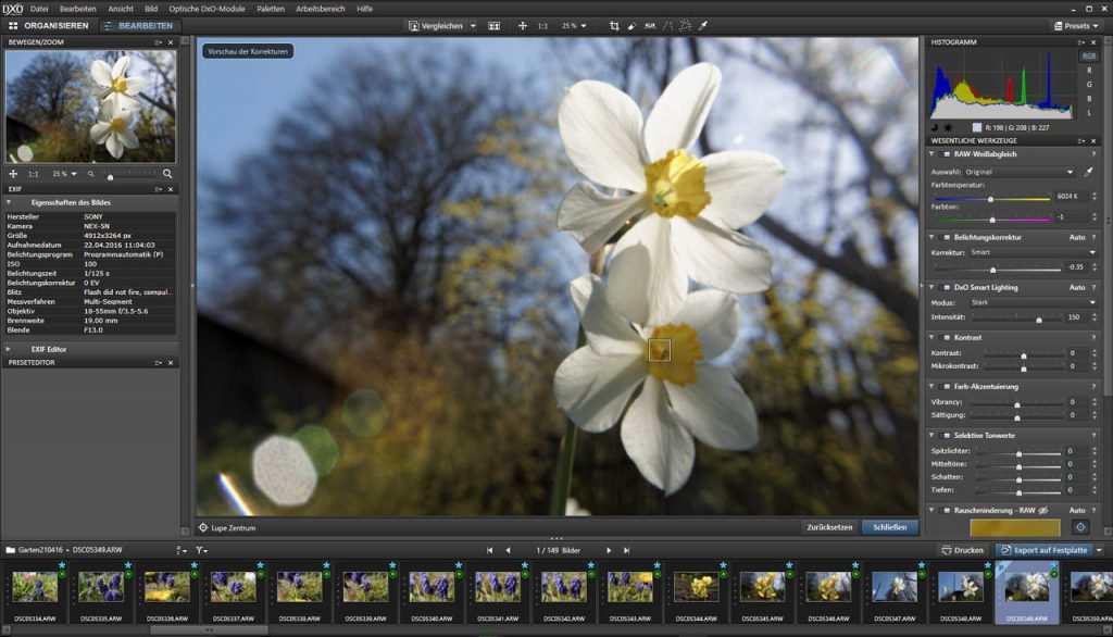 DxO Opticspro 9 Bearbeitungsbildschirm