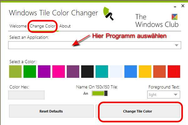 Windows Tile Color Changer