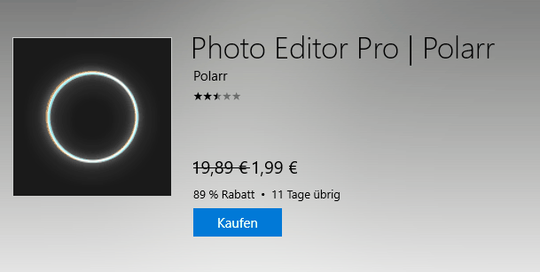 Polarr Photo Editor Pro mit 89% Rabatt